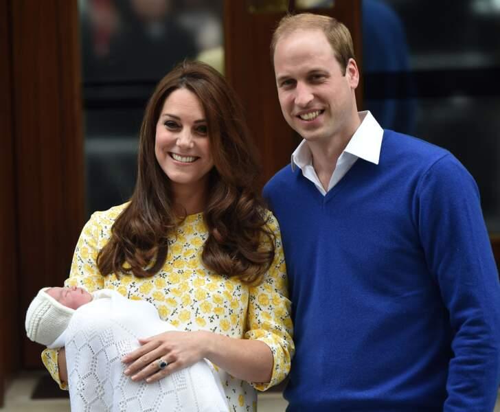 Le duc et la duchesse de Cambridge à la naissance de Charlotte le 2 mai 2015.