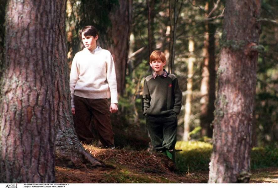 Edward Van Cutsem et le prince Harry à Balmoral en Écosse, en 1994