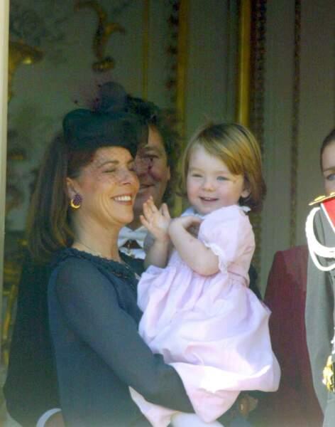 Alexandra de Hanovre et sa mère Caroline lors de la fête monégasque le 19 novembre 2002