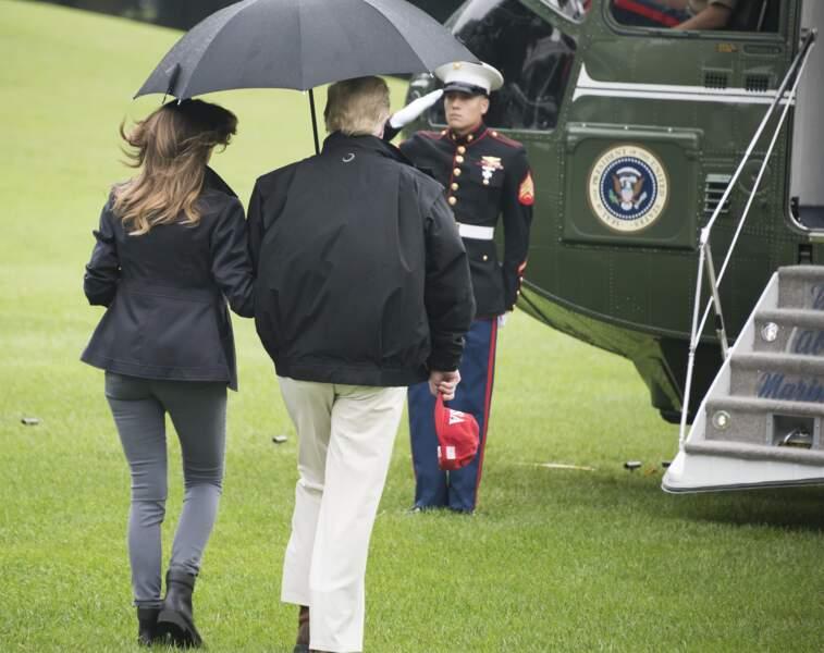 Donald et Melania Trump embarquent