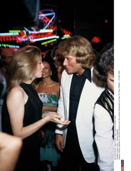 Johnny Hallyday et Catherine Deneuve, en 1989.