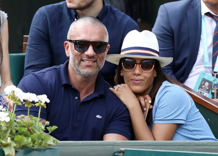 Amel Bent et son mari Patrick Antonelli à Roland Garros le 3 juin 2018