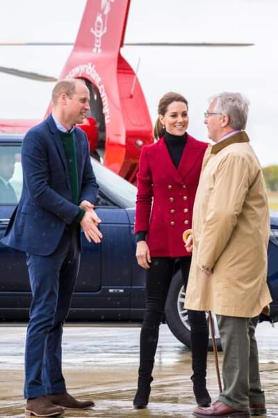 Kate Middleton était accompagnée de son époux, le prince William, ancien pilote d'hélicoptère secouriste