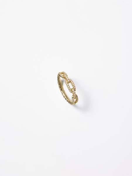 Bague STAX en or jaune et diamants, David Yurman, 1 555 €.