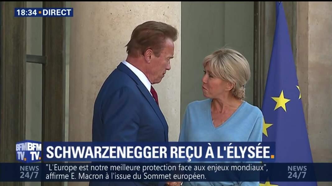 Brigitte Macron et Arnold Schwarzenegger à l'Elysée : un moment de complicité capté par les caméras
