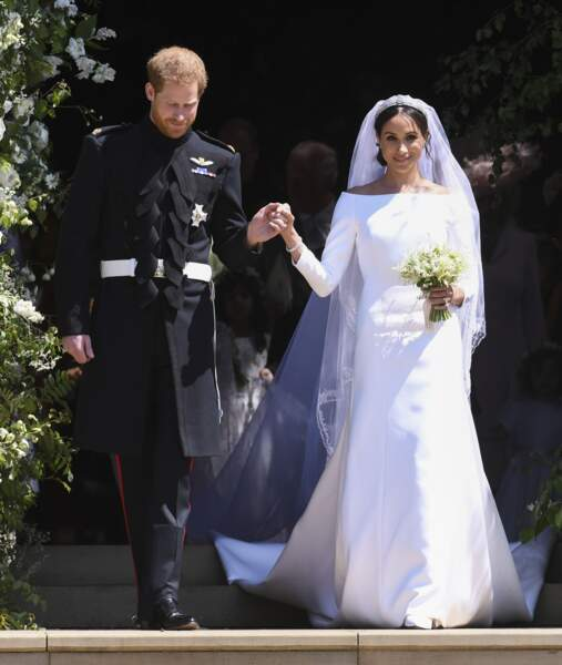 Le prince Harry et Meghan Markle  (en Givenchy) lors de leur mariage à Windsor le 19 mai 2018