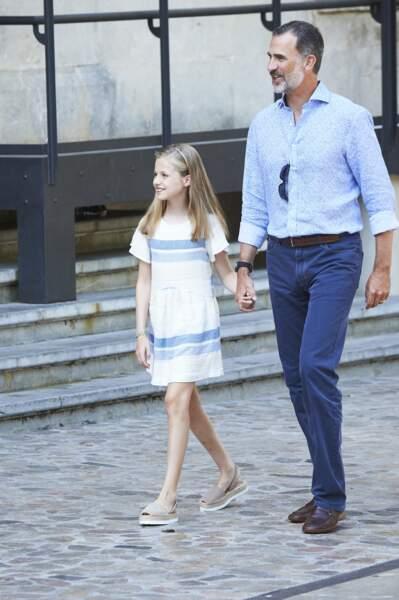 Le roi Felipe VI avec sa fille, la princesse Sofia d'Espagne
