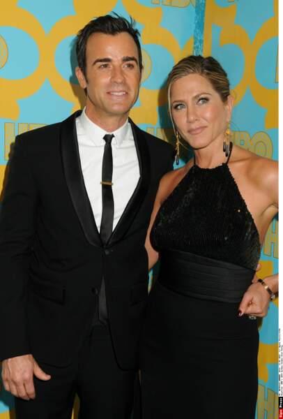 2015 Jennifer Aniston avec un chignon chic époque mariage avec Justin Theroux