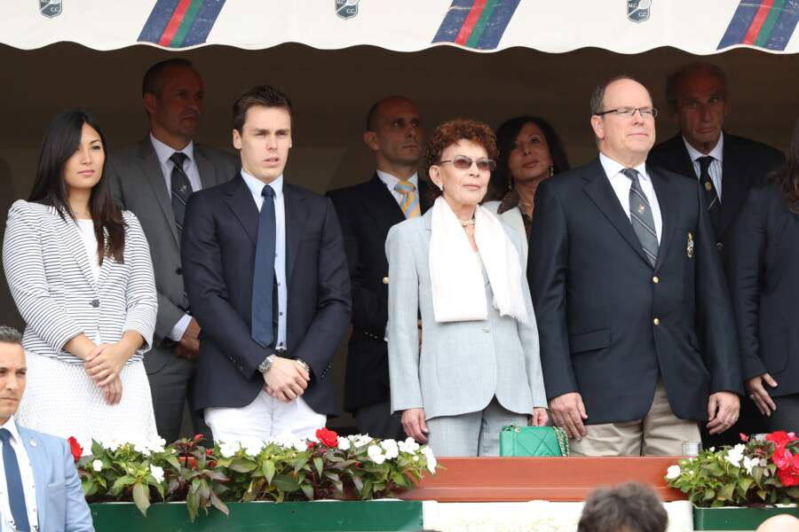 Louis Ducruet, Marie Chevallier, la baronne Elisabeth Ann de Massy, le prince Albert II de Monaco le 23 avril 2017
