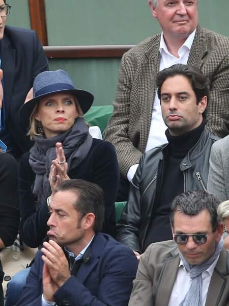 Sylvie Tellier avec Laurent dans les tribunes pour la finale de Roland Garros en 2016