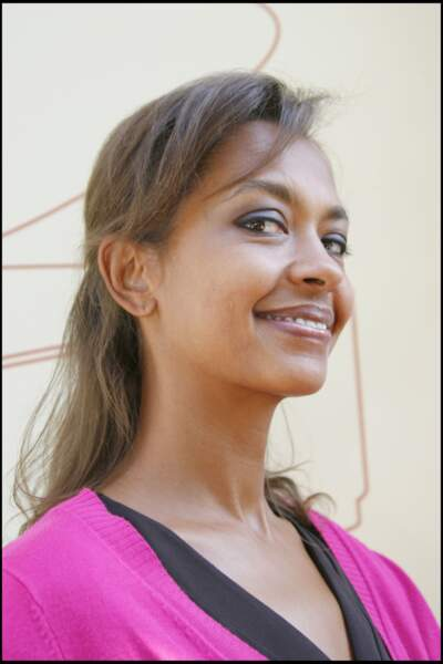 Karine Le Marchand, facétieuse, lors de la conférence de presse de rentrée de France Télévisions, en 2007