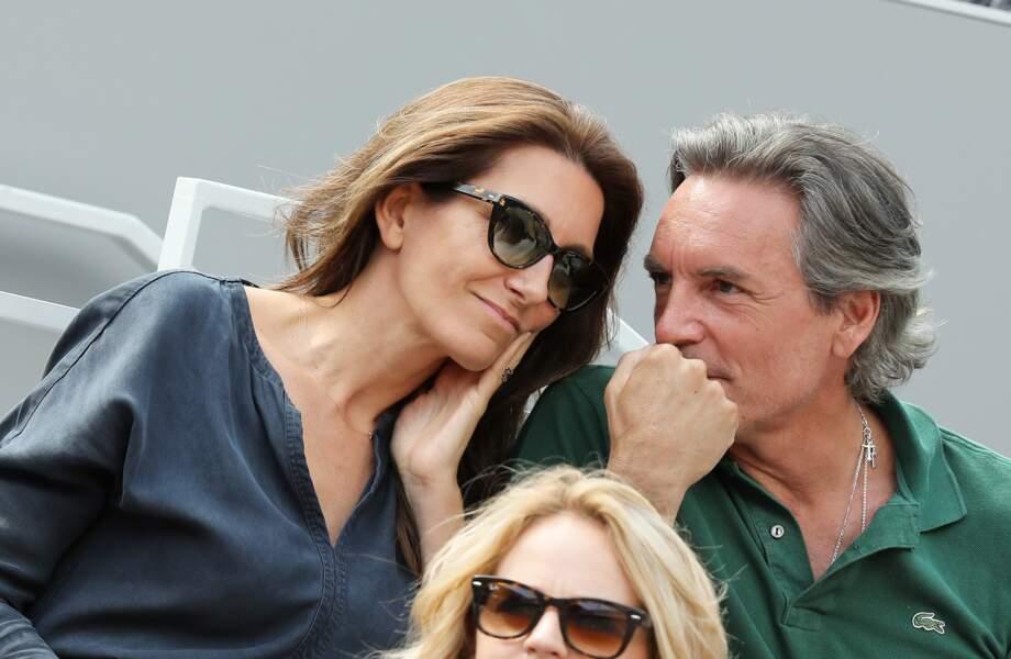 Anne-Claire Coudray et son mari Nicolas Vix complices à Roland Garros, le 3 juin 2019.