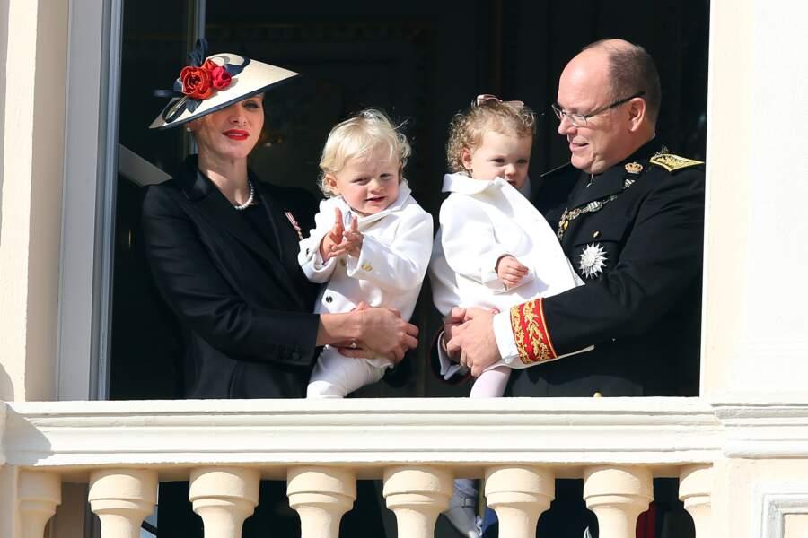 Charlène, Gabriella, Jacques et Albert lors de la Fête Nationale monégasque le 19 novembre 2016