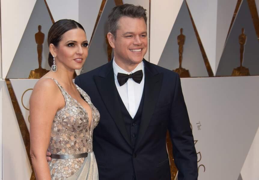 Luciana Barroso et  Matt Damon posent très complices à Los Angeles pour la remise des Oscars