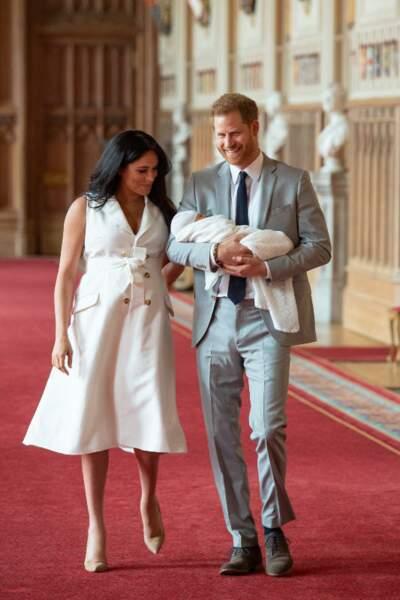 Meghan et Harry après l'accouchement avec Archie le royal baby