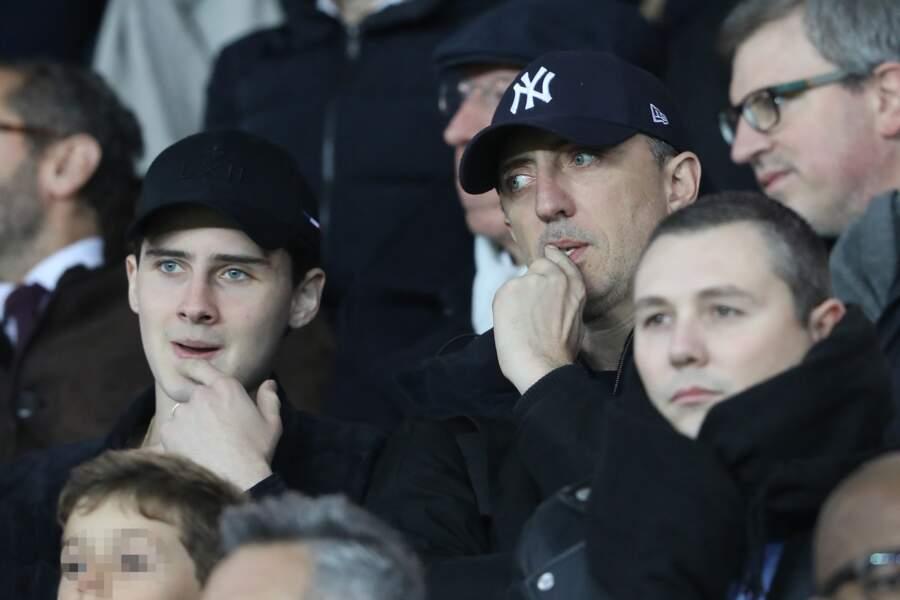 Gad et Noé Elmaleh inquiets lors de la rencontre PSG-Lille ce 2 novembre au Parc des Princes