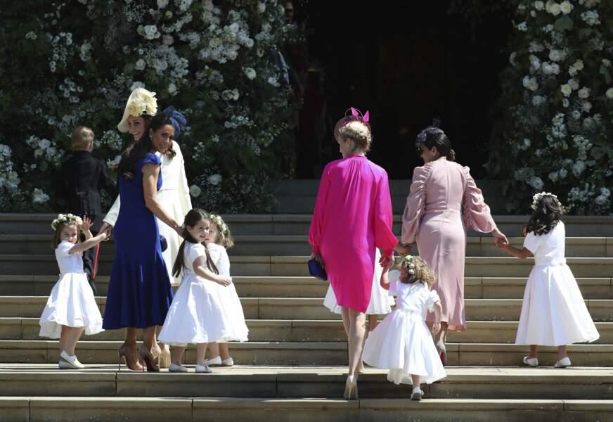 Elle était effectivement en charge du cortège d'enfants d'honneur, avec Kate Middleton.