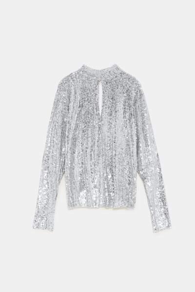 T-shirt à sequins, 30 €, Zara.