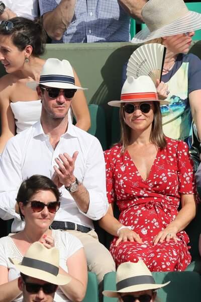 Pippa Middleton et son mari dans les tribunes de Roland-Garros