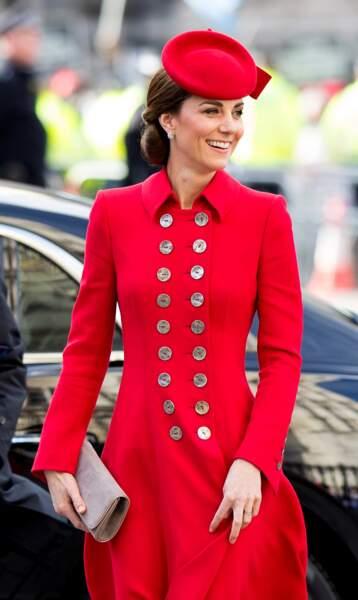 Bibi oblige, un autre chignon bas pour Kate Middleton le 11 mars pour la journée du Commonwealth