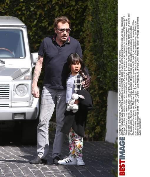 Johnny Hallyday et Joy à Los Angeles le 25 mars 2017