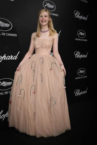 Elle Fanning en robe Prada à la soirée du trophée Chopard  le 20 mai 2019