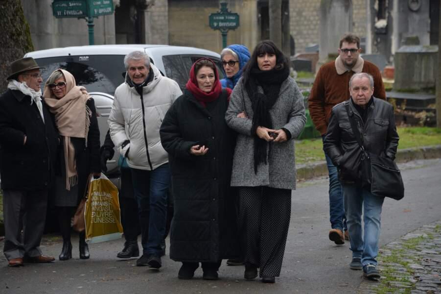 Anouk Aimée, Valérie Perrin et Claude Lelouch aux obsèques de Pierre Barouh à Montmartre le 4 janvier 2017