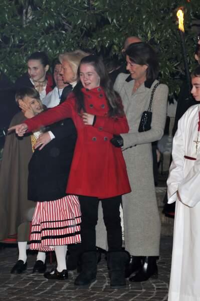 La princesse Alexandra de Hanovre et sa mère Caroline célébrant la Sainte Devote à Monaco le 26 janvier 2012