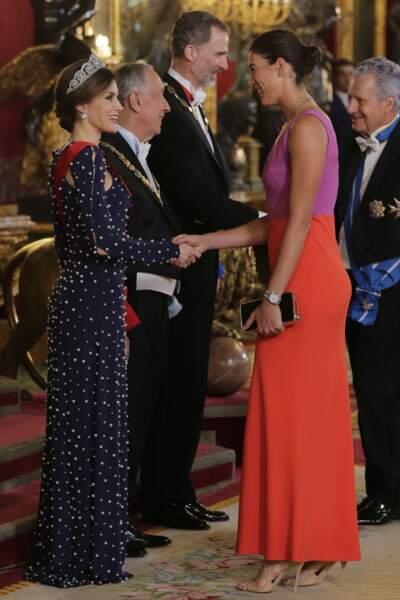 Le roi Felipe VI et la reine Letizia d'Espagne lors du dîner en l'honneur du président du Portugal Rebelo de Sousa