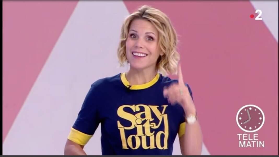 Laura Tenoudji rayonne sur le plateau de Télé Matin avec son t-shirt engagé signé Ba&sh.