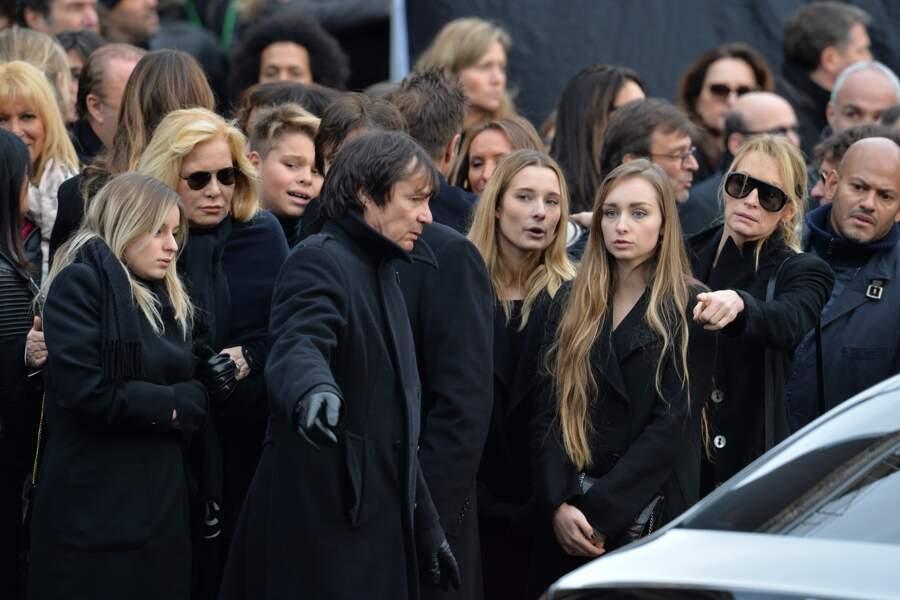 Sylvie Vartan, Darina Scotti, Ilona, Emma Smet, Estelle Lefébure après les obsèques de Johnny Hallyday