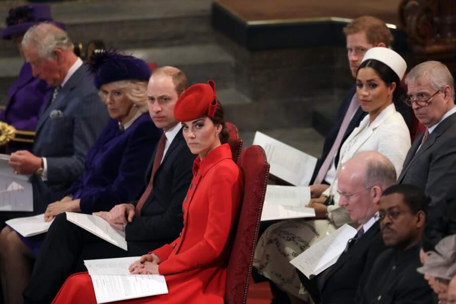 La famille royale d'Angleterre lors de la messe en l'honneur de la journée du Commonwealth, le 11 mars 2019