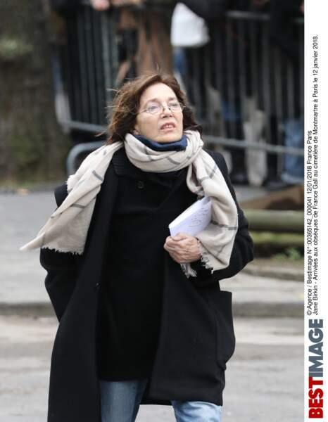 Jane Birkin aux obsèques de France Gall au cimetière de Montmartre à Paris le 12 janvier 2018