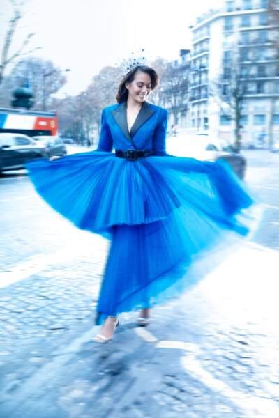 Vaimalama Chaves, Miss France 2019, sublime dans une robe Jean Paul Gaultier sa couronne signée Julien Dorcel