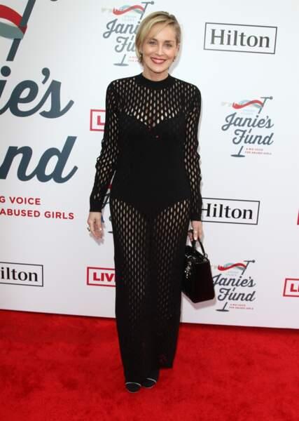 Sharon Stone à la soirée caritative GRAMMY Awards Viewing Party aux Raleigh Studios à Hollywood, le 10 février 2019