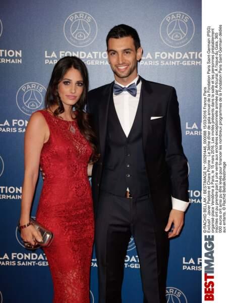 Javier Pastore (en Hugo Boss)  et sa compagne Chiara Picone