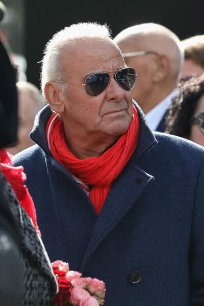 Michel Fugain assiste a la ceremonie religieuse en hommage a Maurane a l'eglise Notre-Dame des Graces