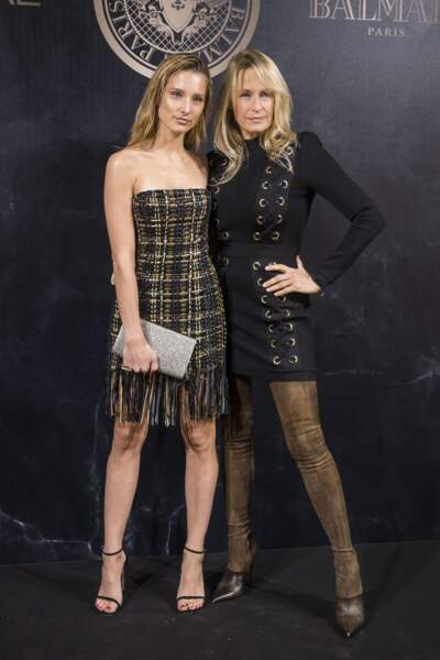 Ilona Smet et Estelle Lefébure à la soirée L'Oréal Paris X Balmain lors de la Fashion Week le 28 septembre 2017