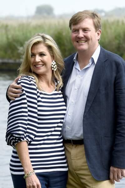 La reine Maxima et le roi Willem Alexander des Pays-Bas en vacances, à Warmond, dans le sud du pays