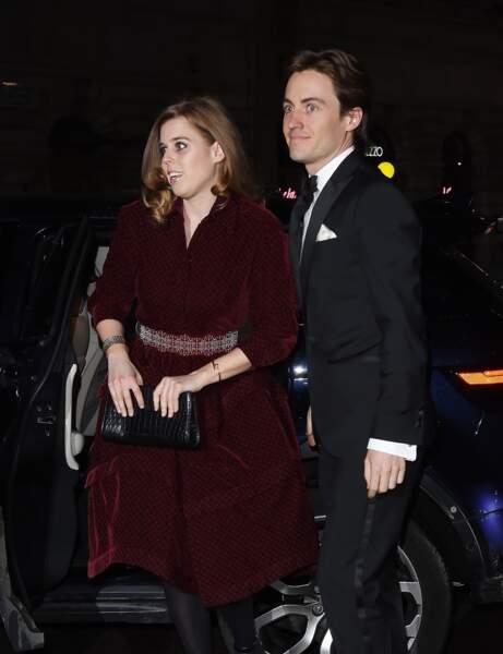 Béatrice d'York et Edoardo Mapelli Mozzi, à leur arrivée à la National Portrait Gallery de Londres, le 12 mars 2019