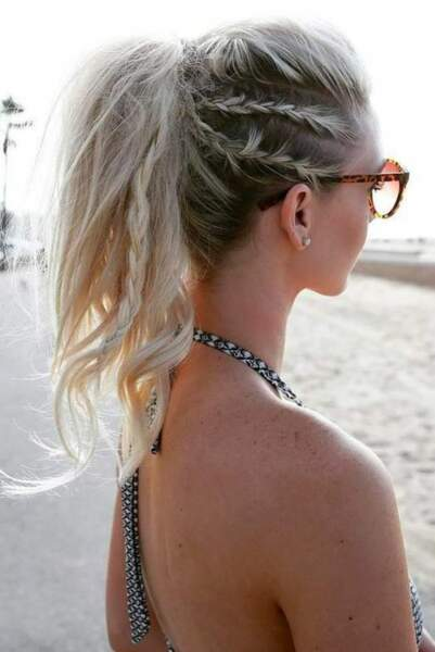 Parfait sur les blondes et les ombré hair : le jeu de tresses et de queue de cheval