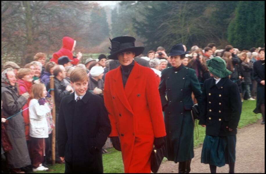 Avec Diana à la sortie de la cathédrale de Sandringham à Noël en 1993