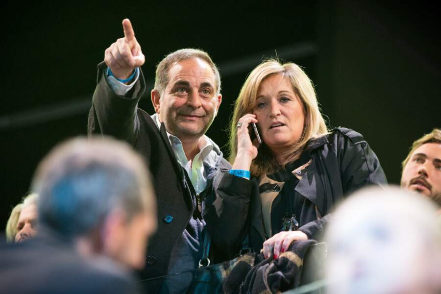Laurent Fontaine et Valérie Douillet dans les tribunes de l'AccorHotels Arena le 17 avril 2017