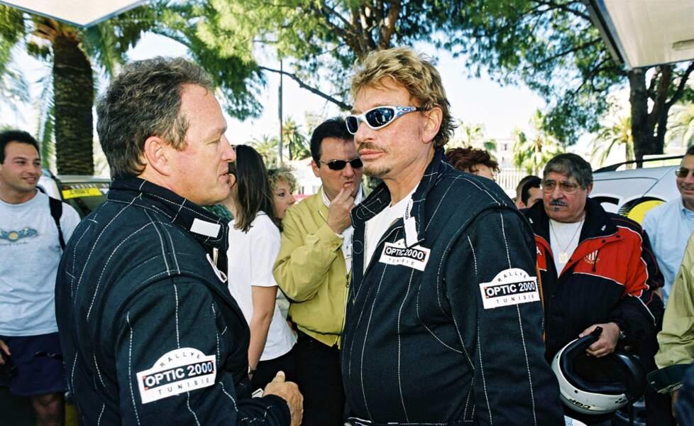 Johnny Hallyday et André Boudou lors des rallyes de Tunisie et du Maroc.
