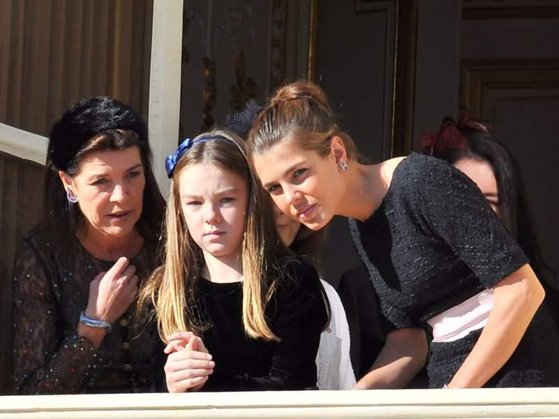 Alexandra de Hanovre, sa mère Caroline et Charlotte Casiraghi