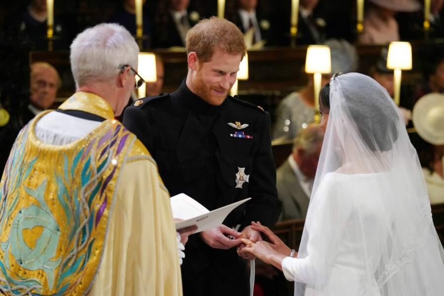 Le prince Harry et Meghan Markle à la cérémonie de leur mariage à la chapelle St George à Windsor, le 19 mai 2018