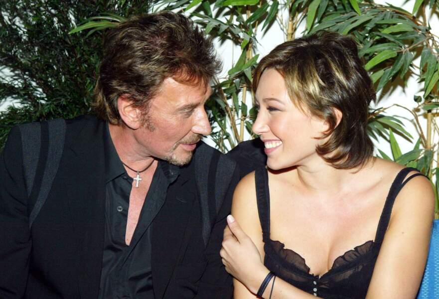 Johnny Hallyday et Laura Smet à Paris en 2003