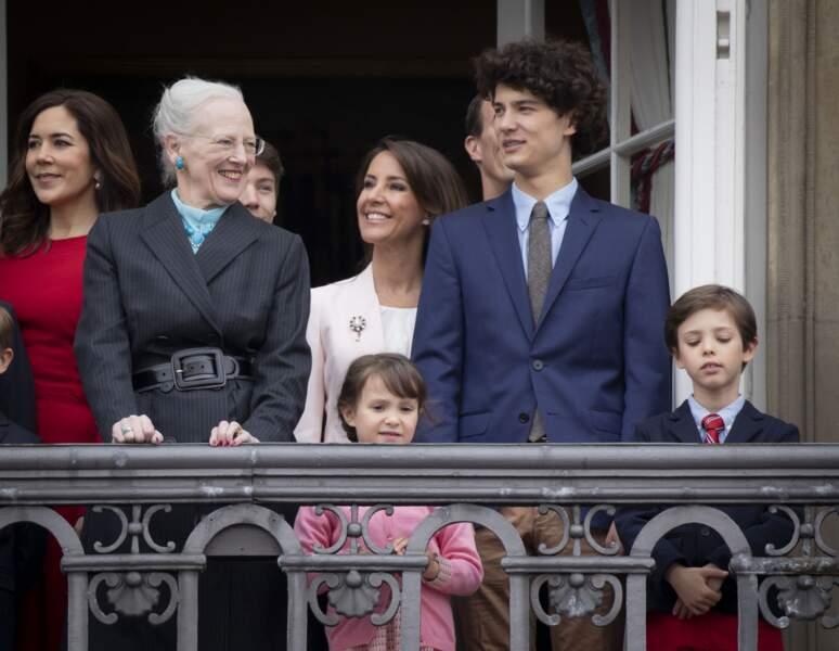 Nikolaï célébrant en famille l'anniversaire de la reine Margrethe II en 2018