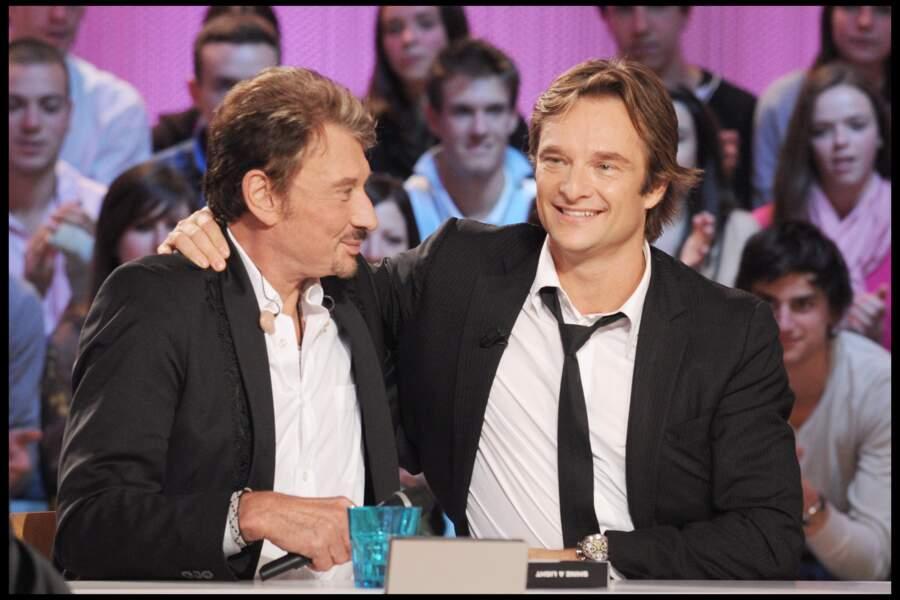 David et Johnny Hallyday sur le plateau du Grand Journal de Canal + en 2008
