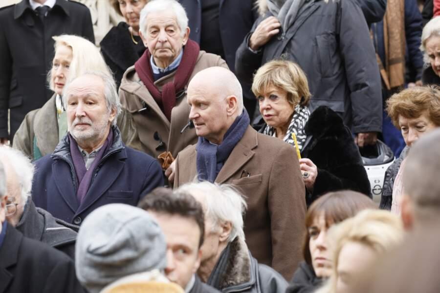 Brigitte Fossey et Jérôme Clément lors des obsèques de Michel Legrand à Paris